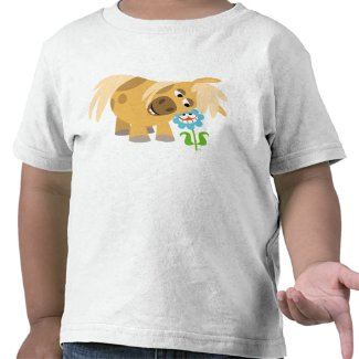 Tender Cartoon Pony and Flower Children T-shirt shirt