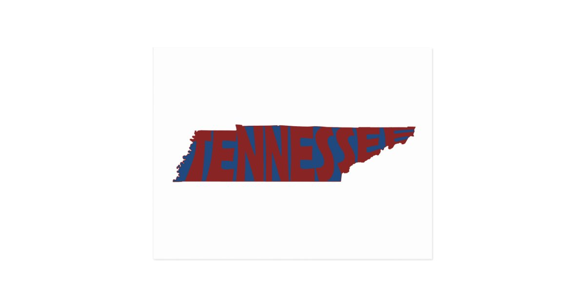Tennessee State Name Word Art Red Postcard Zazzle