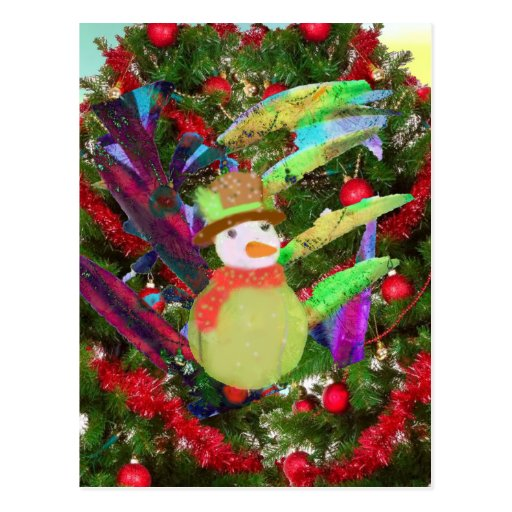 Tennis ball as ornament in Christmas tree Postcard | Zazzle