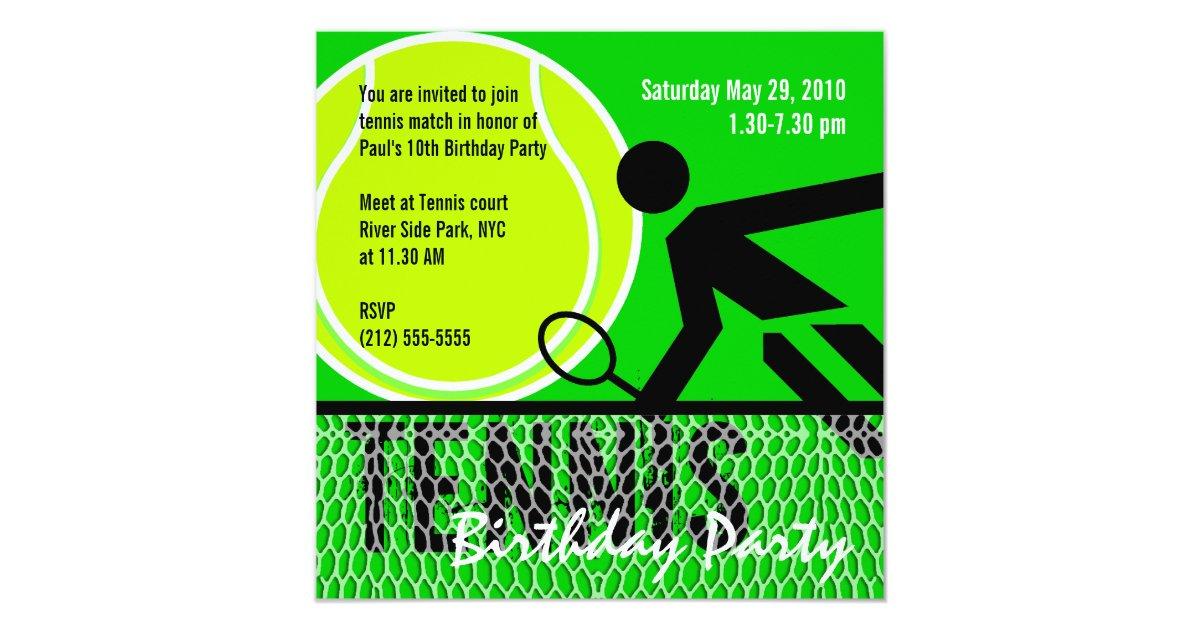 Tennis Birthday Party Invitation Zazzle