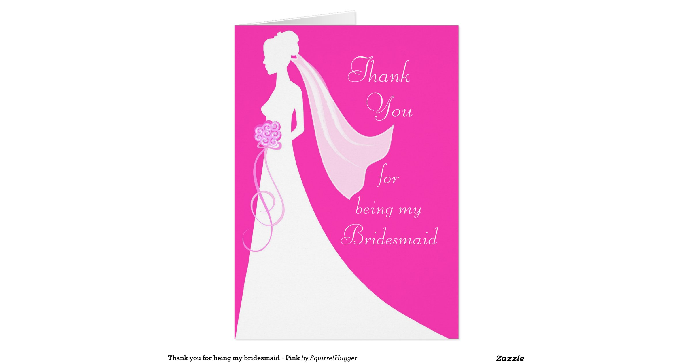 thank you for being my bridesmaid  pink stationery note