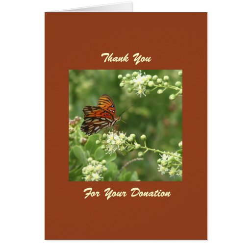 thank you for memorial donation orange butterfly