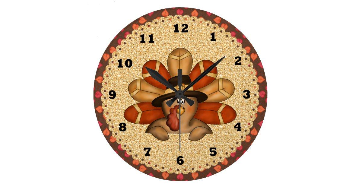 Thanksgiving Turkey Clock Zazzle