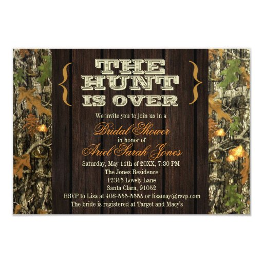"""The Hunt Is Over Camo Bridal Shower Invitation 3.5"""" X 5"""
