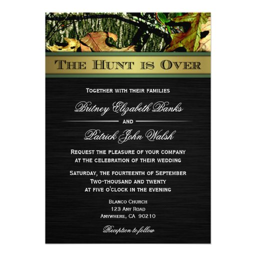 "Elegant Camo Wedding Ideas: The Hunt Is Over Hunting Camo Wedding Invitations 5"" X 7"