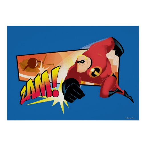 The Incredibles Mr. Incredible Punching running Poster ...