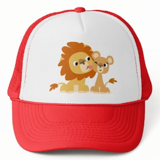 The Kiss: Cute Cartoon Lion Couple Hat hat