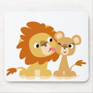 The Kiss: Cute Cartoon Lion Couple Mousepad mousepad
