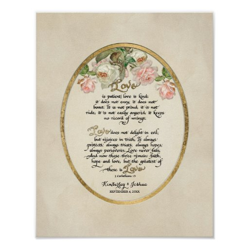 1 Corinthians 13 Wedding Invitations: The Love Chapter, 1 Corinthians 13 Calligraphy Print