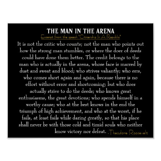 Women Arena Quotes: 'The Man In The Arena' Poster