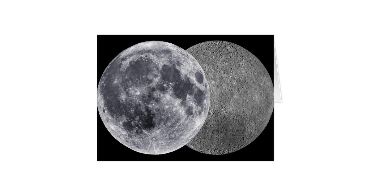 The Moon, Earth Side & Far Side Card | Zazzle
