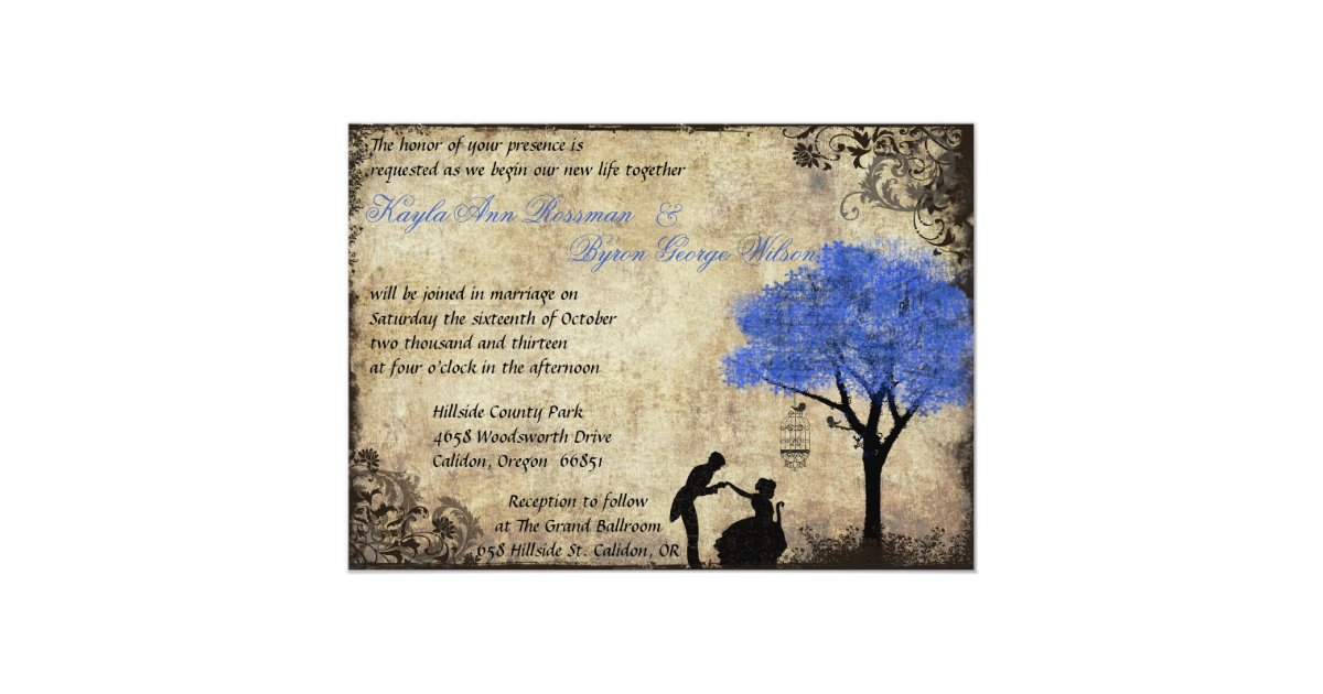The Proposal Vintage Wedding Invitation Dark Blue