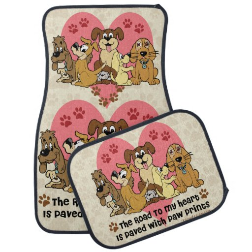 The Road To My Heart Dog Paw Prints Car Floor Mat