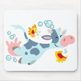The Sea Cow and Fish Friends mousepad mousepad