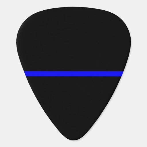 The Symbolic Thin Blue Line on Solid Black Guitar Pick ...