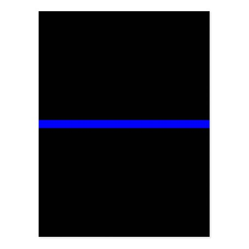 The Symbolic Thin Blue Line on Solid Black Postcard | Zazzle