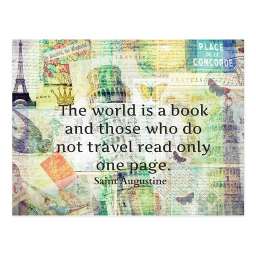 Postcard Quotes Travel: The World Is A Book Travel Quote Postcard