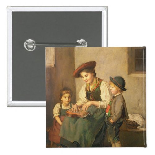 The Zither Player by Franz von Defregger 2-inch Square Button