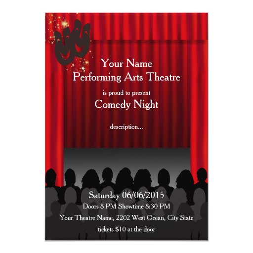 Theatre Performing Arts Comedy Stage Show Invite Zazzle