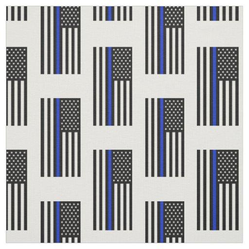 Thin Blue Line American Flag Fabric Zazzle