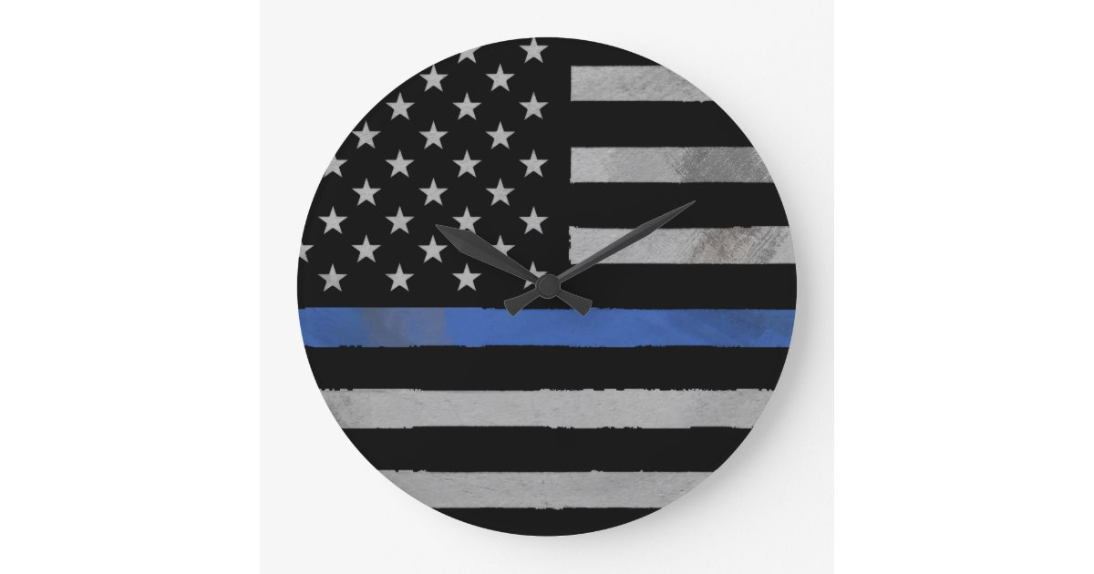 Thin Blue Line Distressed Tattered Flag Large Clock Zazzle