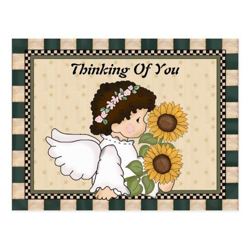 Thinking Of You Angel Postcard | Zazzle