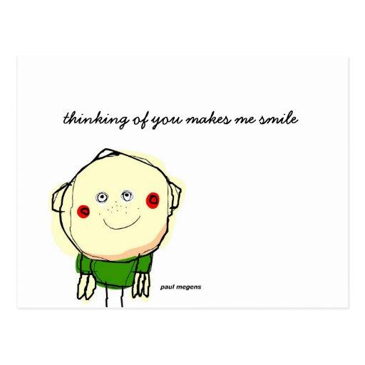 'thinking of you makes me smile' postcard | Zazzle