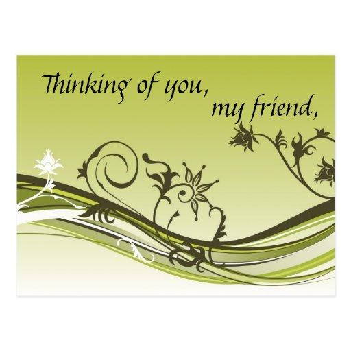 Thinking of you, my friend postcard | Zazzle
