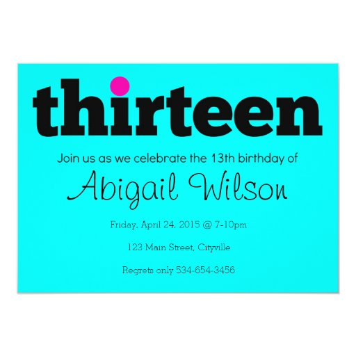 Thirteen- 13th Birthday Party Invitation