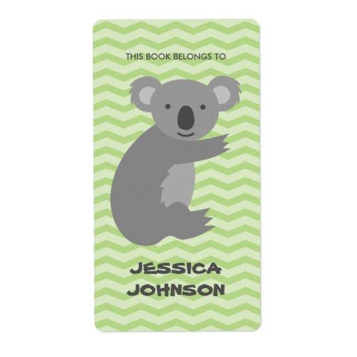 This Book Belongs To Koala Bear Bookplate Labels