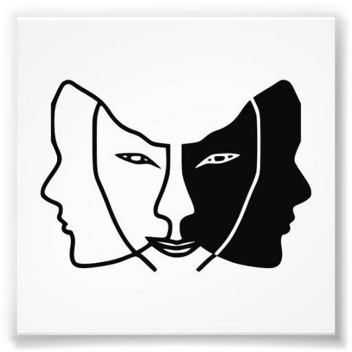 three faces black white gemini photo print | Zazzle