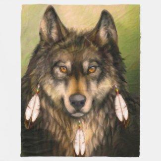Three Feather Wolf Fleece Blanket