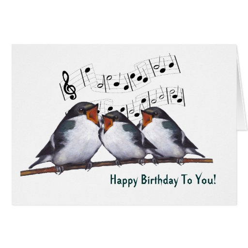 Three Swallows Singing Happy Birthday: Oil Pastel Card