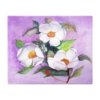 Three White Magnolias Lavender Background Canvas Gallery Wrap Canvas