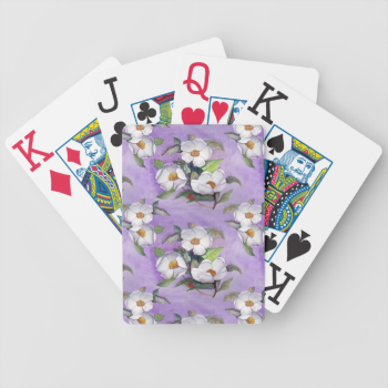 Three White Magnolias on a Lavender Background Bicycle Card Decks