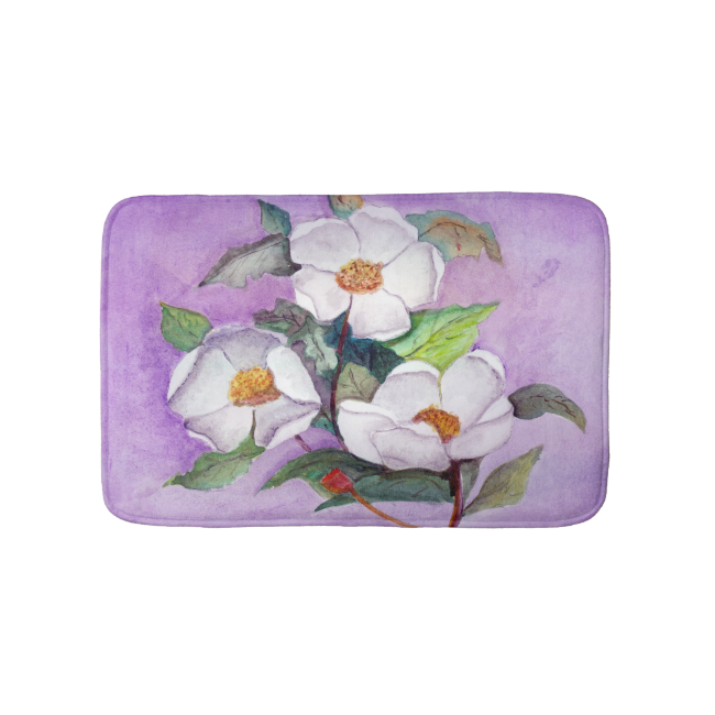 Three White Magnolias on a Lavender Background Bath Mats