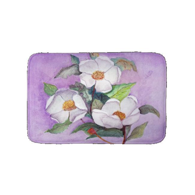 Three White Magnolias on a Lavender Background Bath Mats