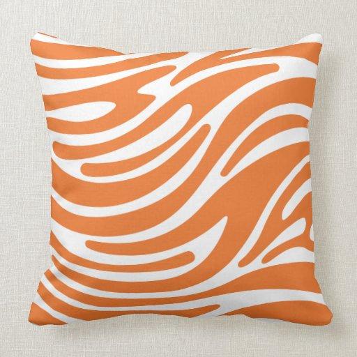 Throw Pillow Modern Zebra Stripes Orange Zazzle