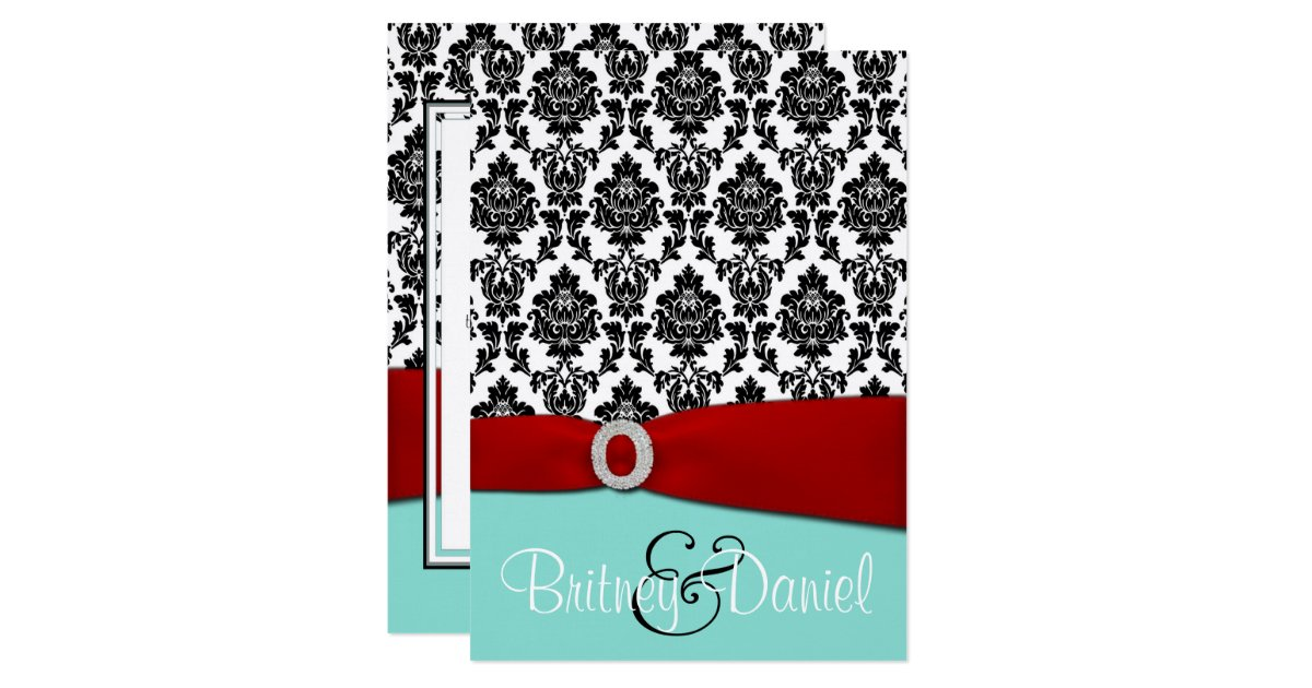 Red White And Blue Wedding Invitations: Tiffany Blue And Red Wedding Invitations