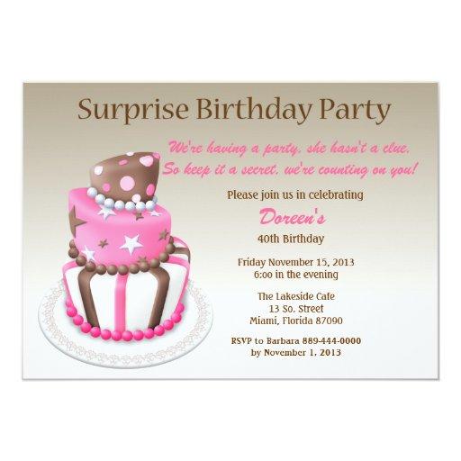 Tilted Cake Surprise Birthday Invitation