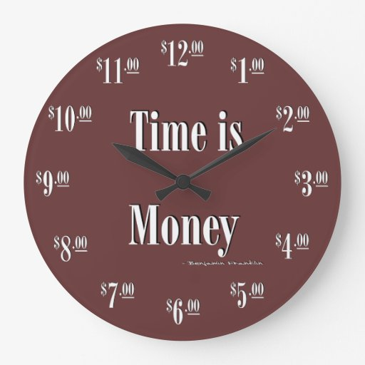 Time Is Money Clock White Text Zazzle