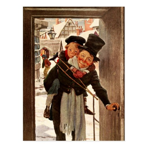 Tiny Tim A Christmas Carol: Tiny Tim And Bob Cratchit On Christmas Day Postcard