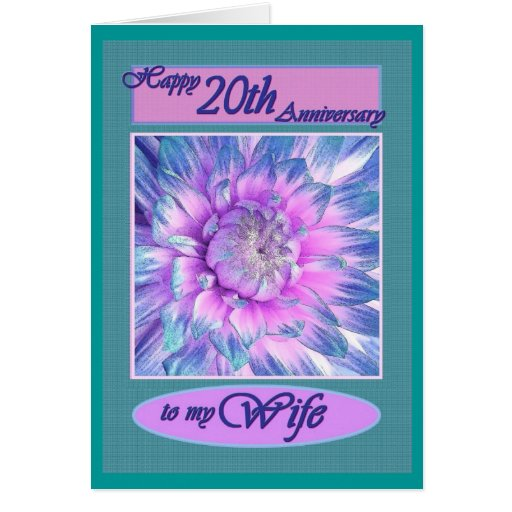 20th Wedding Anniversary Gift Ideas For Wife: To My Wife - Happy 20th Anniversary Greeting Card