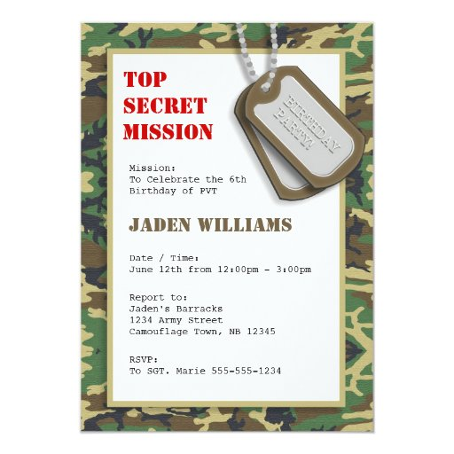 3 000 Camouflage Invitations Camouflage Announcements