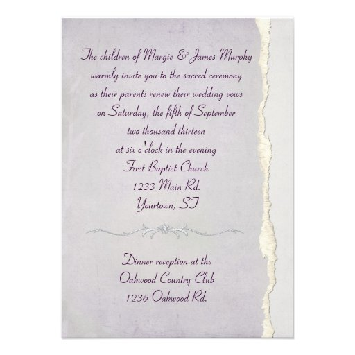 Wedding Vow Renewal Invitations: Torn Edge Lavender Wedding Vow Renewal Custom Invitations