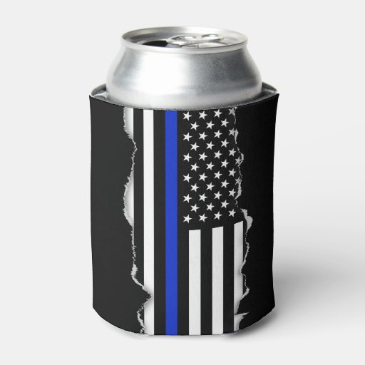 Torn Out Look Thin Blue Line American Flag Can Cooler Zazzle