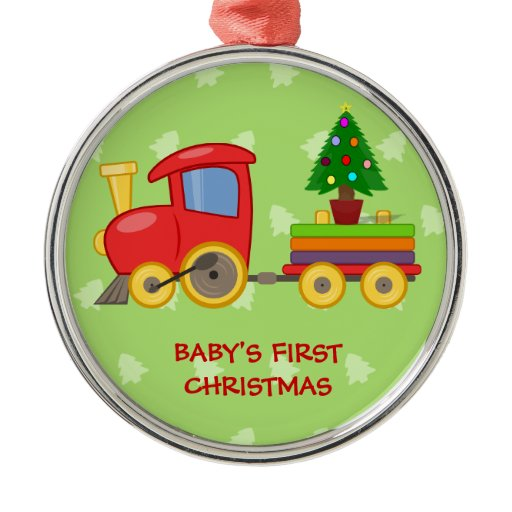 Toy Train, Baby's First Christmas Round Metal Christmas