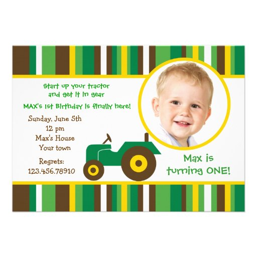 "Tractor Farm Photo Birthday Party Invitations 5"" X 7"