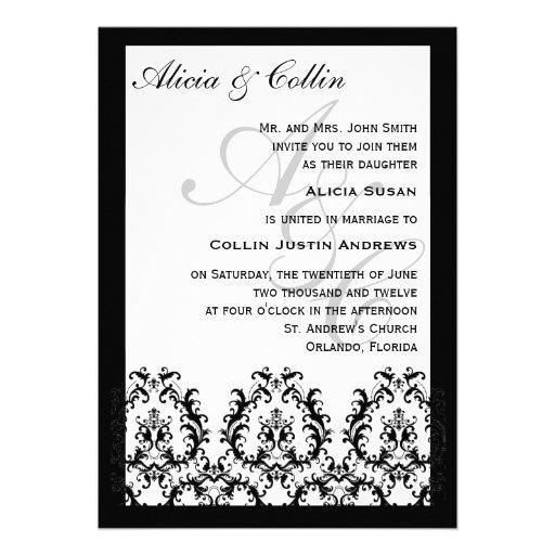 "Traditional Damask Monogram Wedding Invitations 5"" X 7"