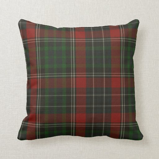 Traditional Green Amp Red Stuart Tartan Plaid Throw Pillow